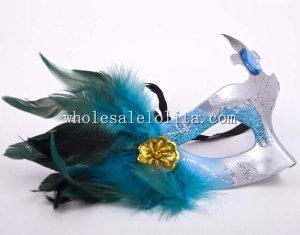 Cheap Feather Half Face Pattern Masquerade Masks with Rhinestone Eye