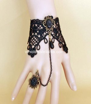Retro Gothic Black Lace Handmade Bracelet and Ring