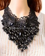 Vintage Black Gothic Necklace with Pearl