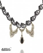 Lolita Gem Pendant Gothic Vintage Black Lace Necklace
