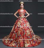 Top Sale Chinese Style Party Red Dragon Robe Prom Dress