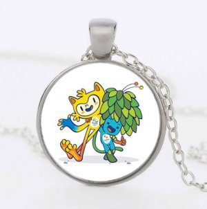 2016 Brazil Rio Olympic Mascots Pooh and Tom Hughes Time Ruby Pendant Necklace Sweater Chain Gift For Kids