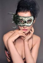 Hand-painted Black & White Masquerade Mask
