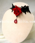 Fashion Red Rose Ruby Pendant Black Lace Necklace for Women