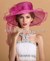 Gorgeous Plum/White Organza Big Brim British Kentucky Derby Hat