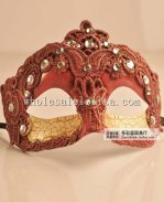 Vintage Half Face Blank Venetian Masquerade Mask with Rhinestone for Adult and Child