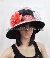 British Style Black and Pink Ladies Wide Brim Hat