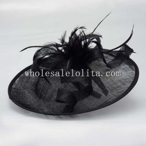 Vintage Black Feather Ribbon British Disc Hat