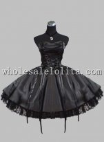 New Black Lace Up Silk-like Sleeveless Gothic Lolita Dress Prom Dress
