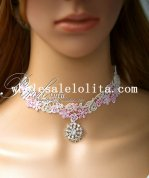 Graceful Collar Choker White/Pink Lace Diamond Pendant Necklace for Bride/Bridesmaid