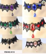Vintage Gothic Collar Choker Gem Pendant Lace Necklace Available for Many Colors