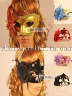 Beautiful Cosplay Glitter Half Face Carnival Masquerade Mask with Flower