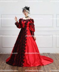 19 century Vintage Red Victorian Gothic Dress Civil War Southern Belle Dresses