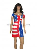US Stars and the Stripes Short Sleeves Latex Dress