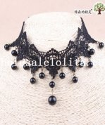 Women's Hotsale Collar Choker Black Lace Beaded Pendant Necklace for Prom