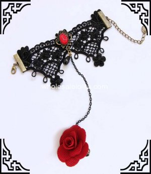Gothic Red Rose Retro Black Lace Royal Ball Bracelet & Ring