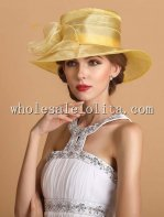 British Yellow Organza Big Brim Ladies Kentucky Derby Hat