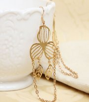 Gothic Gold Leaf Lolita Earrings EH-40