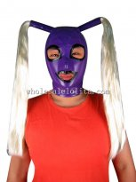 Purple Latex Rubber Costume Hood Mask with 2 Pony Tail