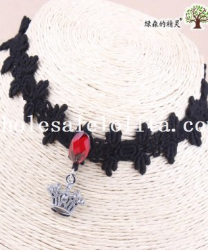 Gothic Black Lace Ruby Collar Choker Crown Pendant Hotsale Necklace