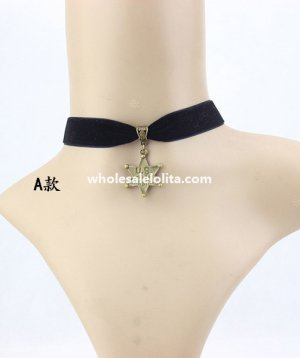 Women's Gothic Black Velvet Collar Choker Star Pendant Necklace