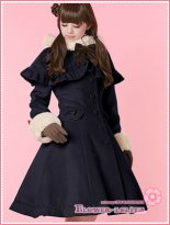Hot Sale Navy Blue Wool Hooded Sweet Lolita Coat