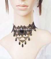 Black Lace Party Necklace with Pearl NO1