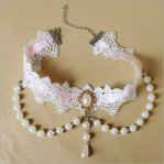 Vintage Bride White & Pink Lace & Pearl Necklace