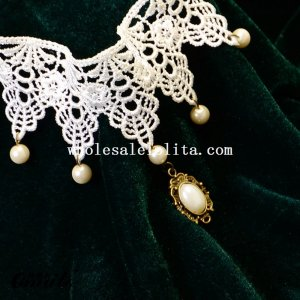 Hotsale White Lace Necklace Pendant with Pearl for Bridesmaid Accessory