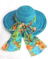 Two Tones Colored Stripes Big Bow Paper Straw Wide Birm Sun Hat