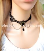 Royal Handmade Women's Gothic Black Lace Collar Choker Gem Pendant Necklace