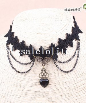 Hotsale Women's Handmade Copper Heart Gem Black Lace Collar Choker Necklace