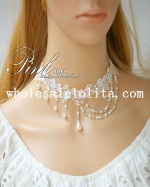Beautiful Blue/Pink Lace Flower Collar Choker Pearl Pendant Necklace for Wedding Accessory