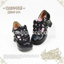 Gothic Black Bows PU Leather Chunky Heel Round Toe Lolita Shoes