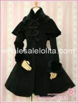 Hot Sale Black Thickness Wool Hooded Sweet Lolita Coat