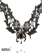 Hotsale Boutique Black Gem Pendant Lace Neckelace