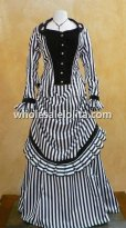 3-Piece Black and White Stripes Steampunk Victorian Bustle Dress Horse Riding Outfit
