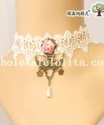 Graceful Royal Pendant White Lace Collar Choker Necklace for Wedding Prom