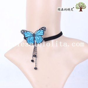Hanmade Collar Choker Velvet Pendant Necklace with Blue Butterfly for Women