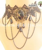 Royal Gothic Vintage Black Lace Collar Choker Pendant Chain Necklace
