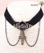 Hotsale Handmade Velvet Collar Choker Necklace with Cross Pendant for Women