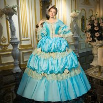 18th Century Sky Blue Belle Period Rococo Dress
