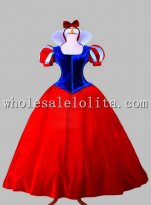 Disney Cosplay Blue and Red Snow White Princess Adult Costume Dress