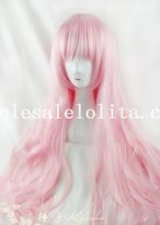 Cosplay Pink Anime Long Curly Wig for Women
