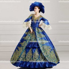 Classic 18th Century Marie Antoinette Inspired Dress Wedding Masquerade Gown Reenactment Blue