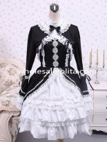 Black Cotton White Doll Collar Splicing Gothic Lolita Dress