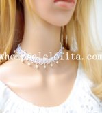 Beautiful Graceful White Lace Collar Choker Pearl Pendant Necklace for Gift