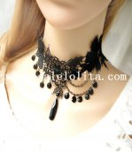 Gothic Black Lace Collar Choker Gem Chain Pendant Necklace for Gift