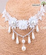 Royal Graceful White Lace Pearl Pendant Chain Collar Choker Necklace for Wedding Prom