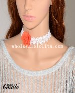 Elegant Fashion White Collar Choker Lace Necklace with Orange Flower
